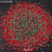 ZOTOONE Hotfix Glass Big Red Rhinestones Stones For Clothing DIY Nail Art Mobile Phone Craft Iron On Flatback Strass Crystals E