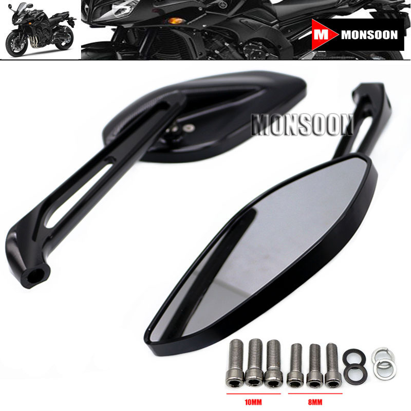 For YAMAHA FZ1 FZ6 FZ8 FZ-1 FZ-6 FZ-8 Motorcycle Accessories Rearview Side Mirrors Rear View Rearview Mirrors Black for yamaha r1 r6 fz zuma motorcycle cruiser freeshipping silver carbon fiber rearview mirrors