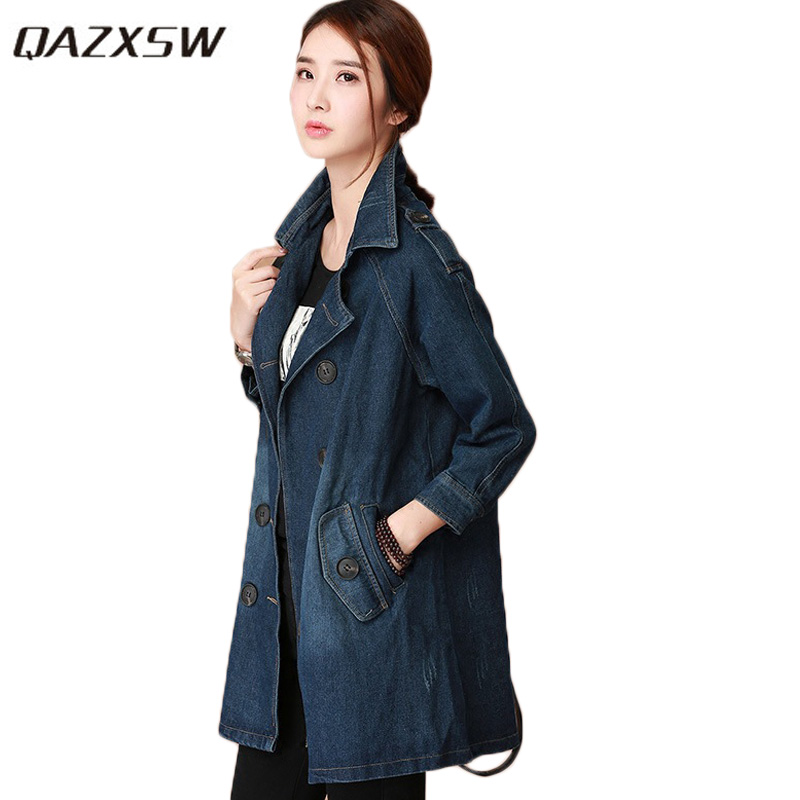 QAZXSW 2018 Spring Autumn Women Blue Denim   Jacket   Vintage Jeans Coat Double Breasted Women   Basic     Jacket   Casaco Feminino HB548