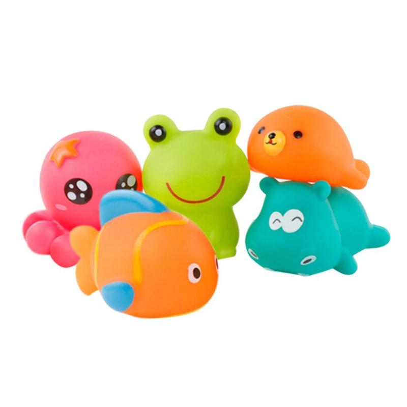 5pcs/set Baby Bath Toys Kids Water Spraying Shower Child Bathroom Play Infant Beach Toys Mini Rubber Children Swimming Pool Toy