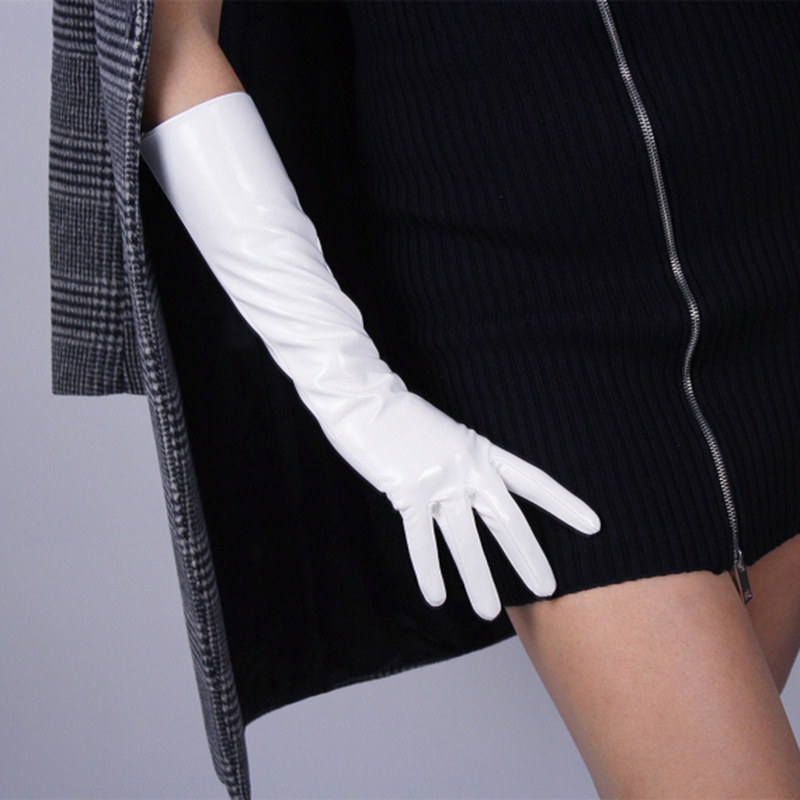 Fashion lady Patent Leather Gloves Women Bright white Long PU Simulation Leather Bright Leather Mirror Style 40cm B77