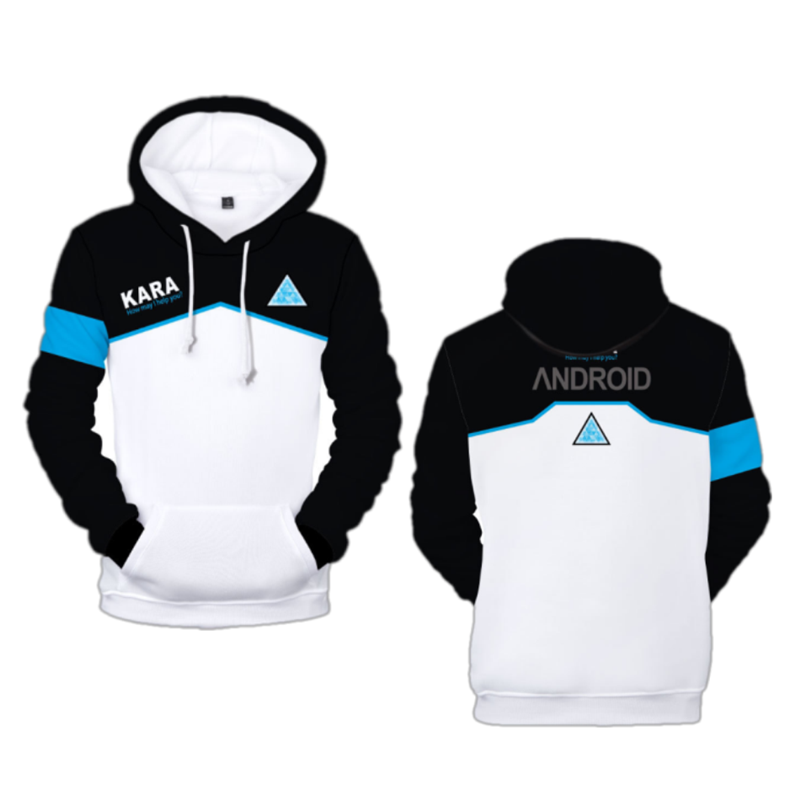Takerlama Detroit: Become Human Connor Kara RK800 Hoodie Sweatshirt 3D Printed Hooded Hip Hop Pullovers Cosplay Costume