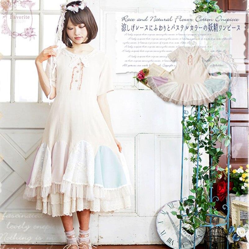 Summer Mori Girl Lace Multilayer Ruffle Dress Women Clothing Sweet Patchwork Cotton Short Sleeve Female Lolita