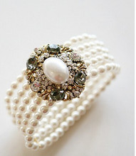 Hot selling Elegant 5 Strands Pearl Rhinestones Oval Icon Elastic Bracelet B66(China)