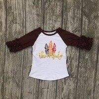 Baby Girls Children Thanksgiving Raglans Baby Girls Thankful Raglans Brown Sleeve With Frather Shirts T Shirt