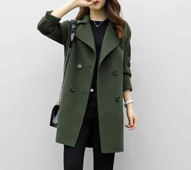 Осенне-зимнее Женское шерстяное пальто с длинными рукавами и отложным воротником, оверсайз-блейзер, верхняя одежда, куртка, элегантные пальто свободного кроя для женщин