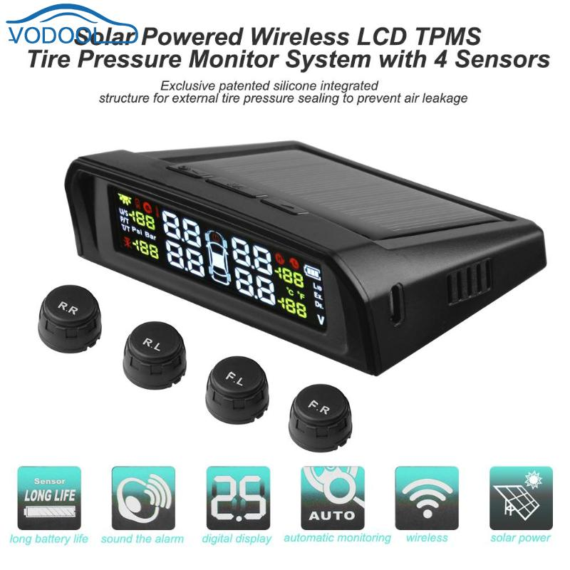 VODOOL LCD Car TPMS Tyre Pressure Monitoring System Solar Charger With 4 External Internal Sensor Auto Security Alarm Systems-in Tire Pressure Alarm from Automobiles & Motorcycles    1
