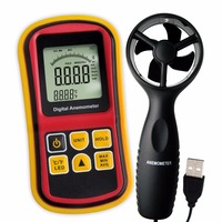 Multifunctionele Digitale Thermo-Anemometer Wind Air Speed Meter Thermometer Temperatuur 0 ~ 45 m/s Velocity Staafdiagram Surf + Backlight