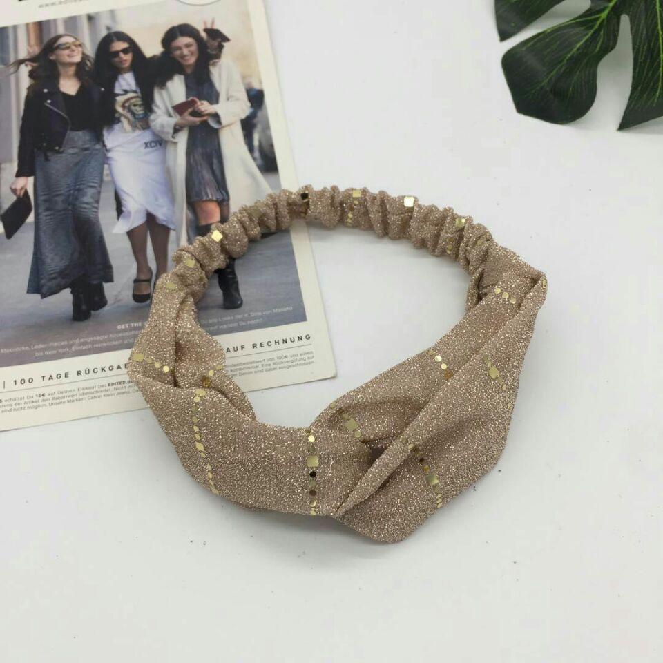 Gold Dot Silk Cotton Women Hair Bands Fashion Cross Knotted Turban Elastic Shiny Hairbands Girls Accessori Donna
