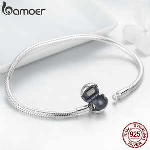 Image 4 - BAMOER 100% 925 Sterling Silver Lion Animal Round Clasp Snake Strand Chain Bracelets for Women Sterling Silver Jewelry SCB054