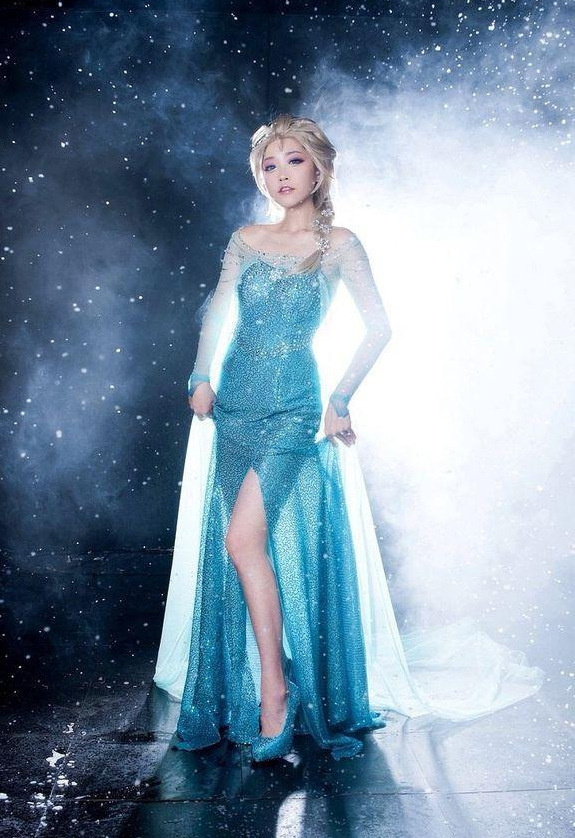 Faion princess Ice Snow Queen Party Cosplay Elsa&Anna Dress and Wig Adult Girl Lady Sexy Women Girls Cinderella Snow White