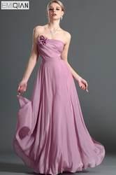 Бесплатная доставка Прекрасный без бретелек линии длиной до пола, плиссированные шифон платье подружки невесты