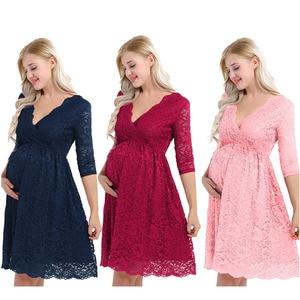 Image 2 - iiniim Womens Maternity Elegant Dress Floral Lace Overlay V Neck Half Sleeve Pregnant Photography Dress for Take Part Weeding