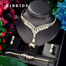 HIBRIDE Luxury Design Gold Color Round Shape Women 4 pcs Jewelry Set Dress Necklace Earring Jewelry Set For Party Gits N-881(China)