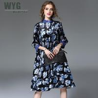 Große Größe Samt Blau Gold Kleid Frauen 2017 Herbst Edlen Eleganten Fashion Floral Printed Self-tie Lose Midi Kleid XXL