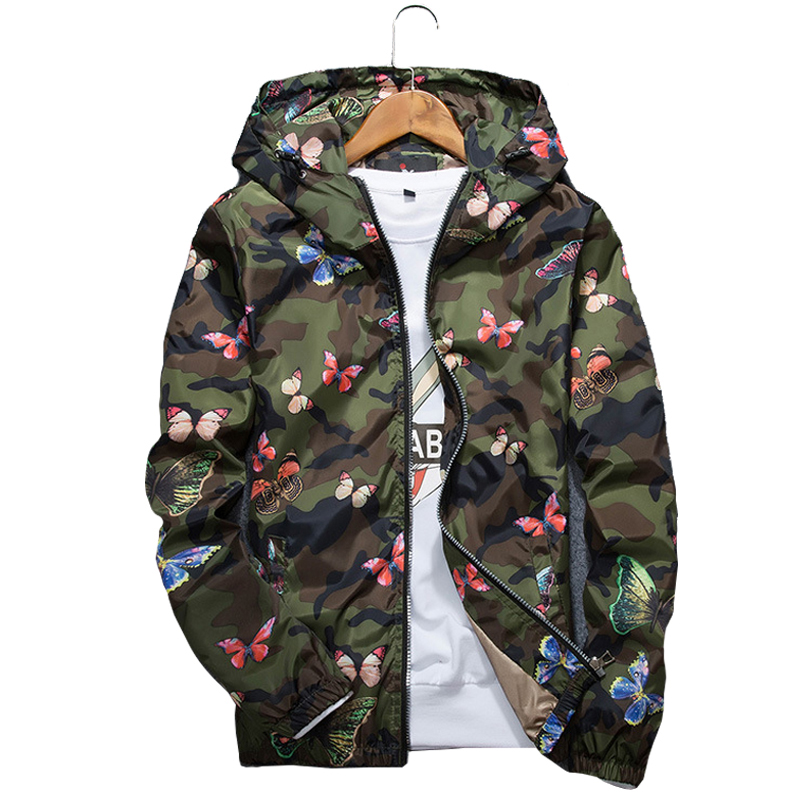 Mens Casual Hoodie Jacket 2019 New Autumn Butterfly Print Clothes Men's Hooded Windbreaker Coat