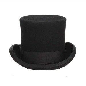 Image 3 - Gemvie 13.5cm 100% lã de feltro chapéu superior para homens fedoras para mulher chapeleiro louco cilindro traje chapéu cavalheiro derby chapéu mágico