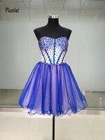 Robe de soiree Real Picture Hot Koop Prom Dresses Boven Knie Sweetheart Mouwloze Crystal Mini Tule Avondjurk Party jurken