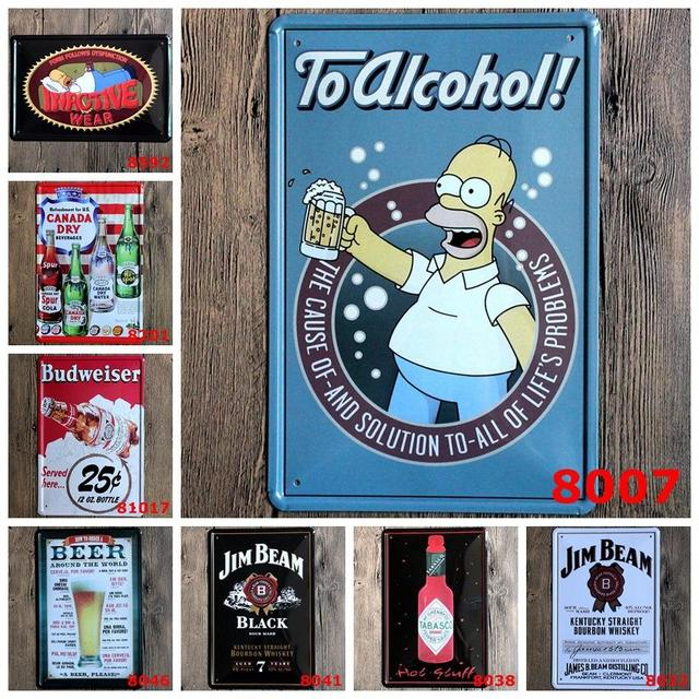 European American Famous Painting Custom Ktv Bars Sitting Room Adornment Tin Plate Poster Metal Signs