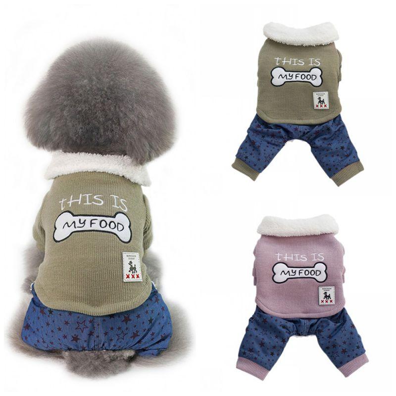PetDog Warme Knochen Muster Mäntel Vier FooCasual Jacken mit Plüsch Revers für Welpen Herbst Winter Mäntel Winter Liefert