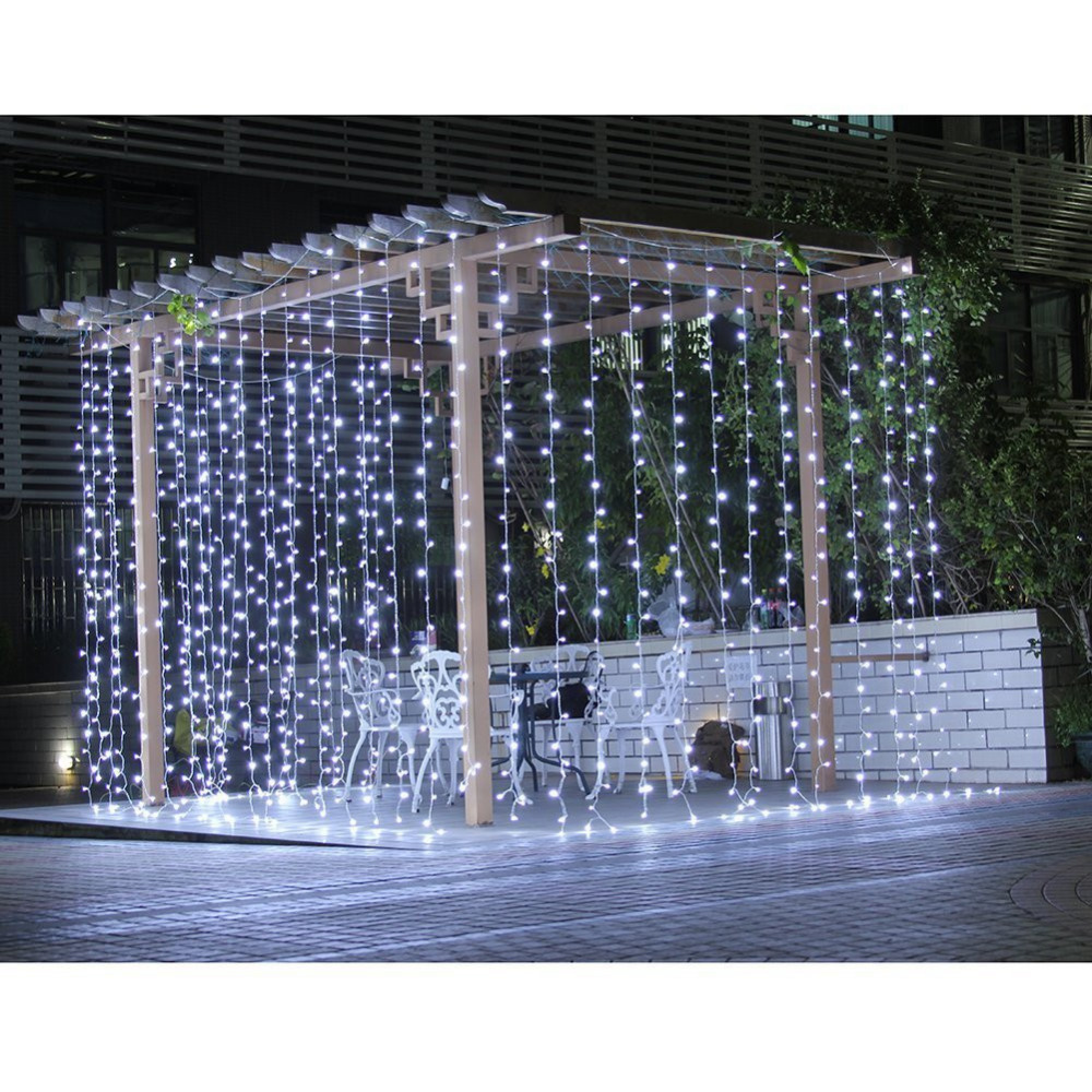 Lumière de bande de rideau multifonction en plein air 600 LED 6*3 m fée lampe imperméable à l'eau fête de mariage maison mur jardin vacances décor