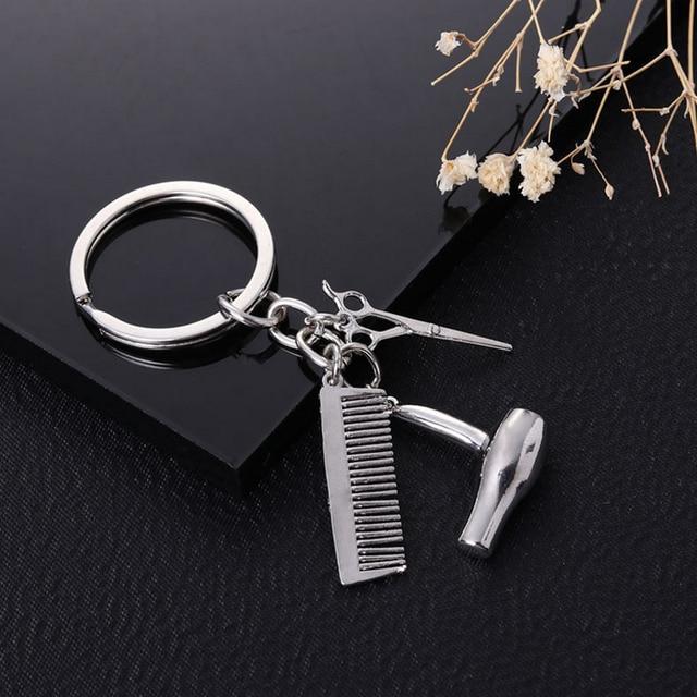 XIAOJINGLING New Fashion Key Chain Scissors Comb Hair Dryer Pendants Keychain Jewelry Gift Barber Shop Tools Supplies Keyring