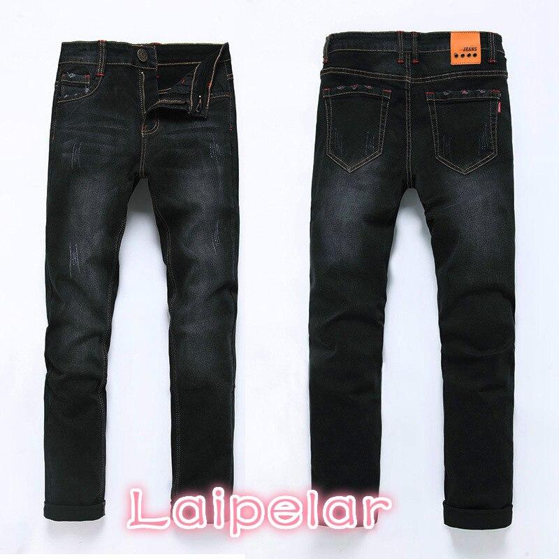 High Quality 2018 Fashion Demin Jeans Men Slim Fit Black & Blue Color Plus Bigger size 28-46 48 Laipelar