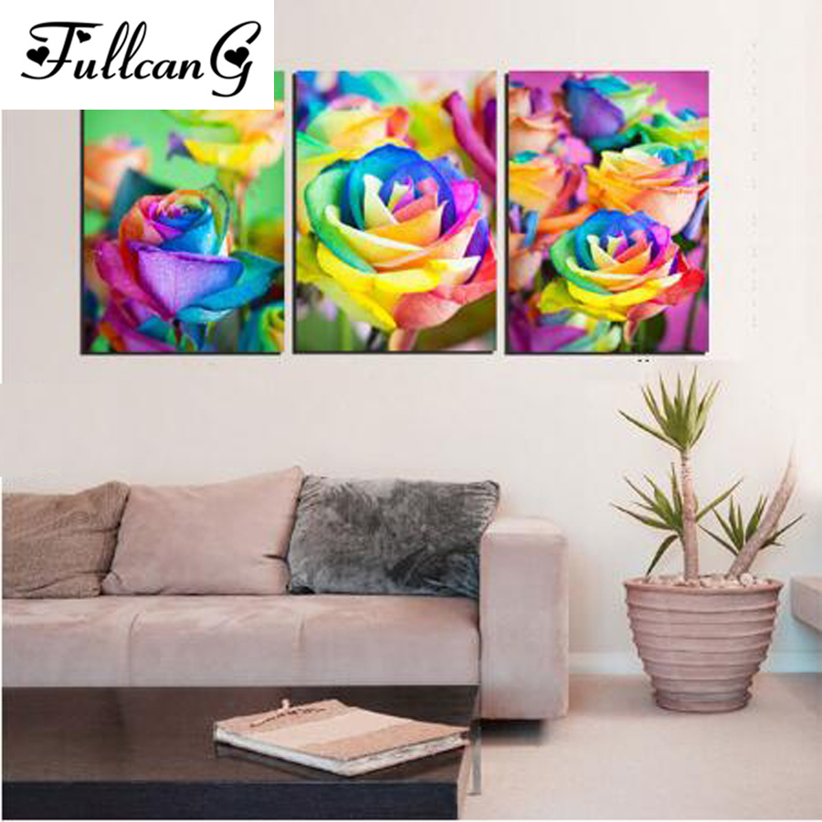 FULLCANG diamond embroidery colorful roses painting cross stitch triptych flowers full square rhinestone mosaic E1116