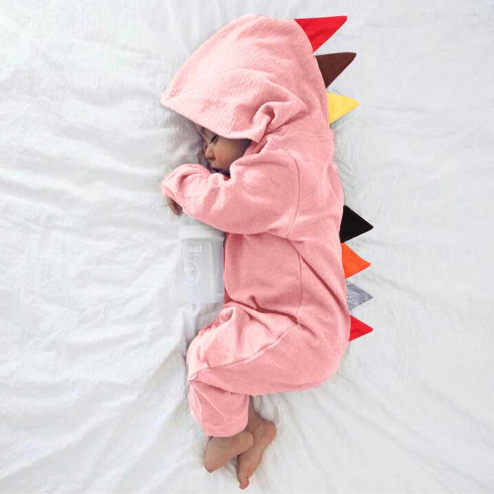 2c6abfb6664 Newborn Baby Boys Girls Dinosaur Zipper Hooded Romper Jumpsuit Outfits  Clothes Newborn Boy Girls Polar Fleece