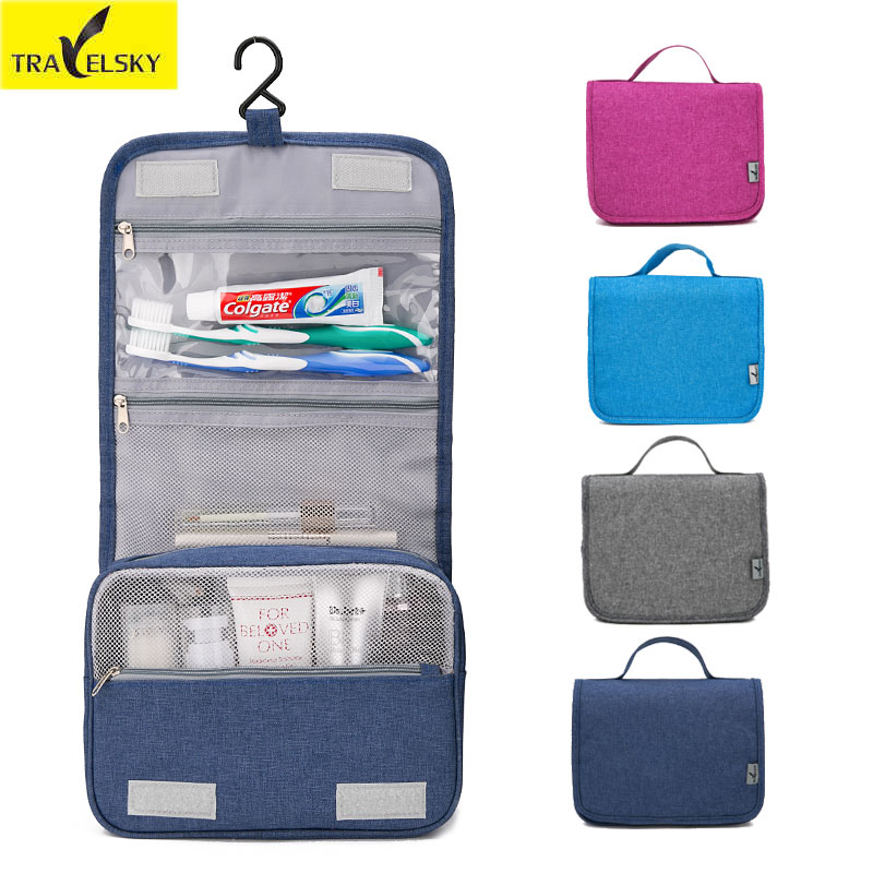 Travelsky New Hot Enlarge Travel Makeup Bag Women Portable Waterproof Zipper Cosmetic Organizer Men Hanging Washing Toilet Bag pvc transparent wash portable organizer case cosmetic makeup zipper bathroom jewelry hanging bag travel home toilet bag