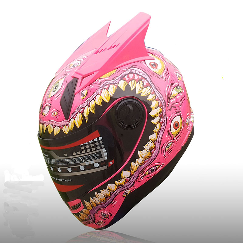 Motorcycle Helmet Pink Full Face Motorcycle Big Eyes Helmet DOT approved fall winter helmets casco motorcycle motorcycle helmet 2 bags saddle bag knight rider equipment oxford contraction helmet bag fit full face helmet back pad bag