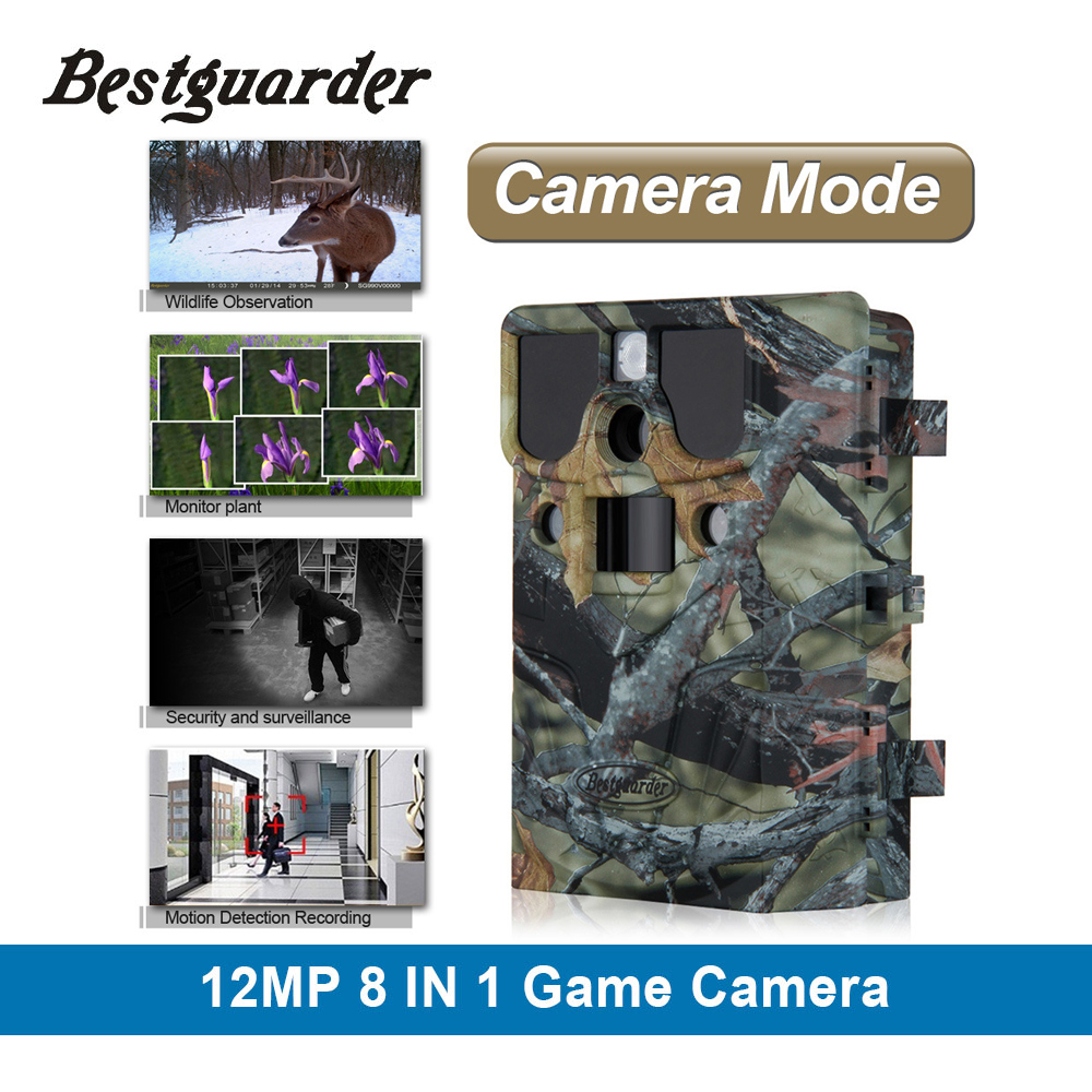 8 in 1 12mp HD 1080P hunting scouting camera call function IP66 long detection range to 85ft for cold blooded animal game Camera 12mp hd 1080p black ir game hunting scouting camera ip66 super long detection range up to 75ft 2 0 lcd ir game hunter cam