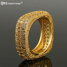 Bling CZ Finger Rings Fully Iced Out Top Quality Micro Pave Square