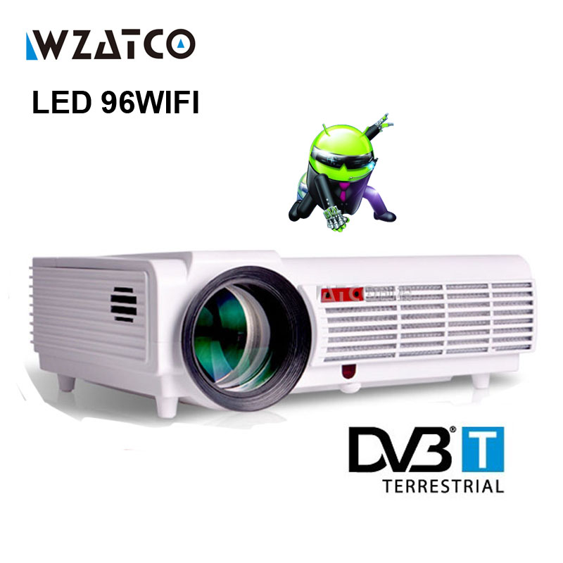 WZATCOLED96 Android WIFI 5500lumen Video HDMI DVBT TV Full HD 1080P Home Theater 3D LED projector Projetor proyector beamer bt96 tv home theater led projector support full hd 1080p video media player hdmi lcd beamer x7 mini projector 1000 lumens