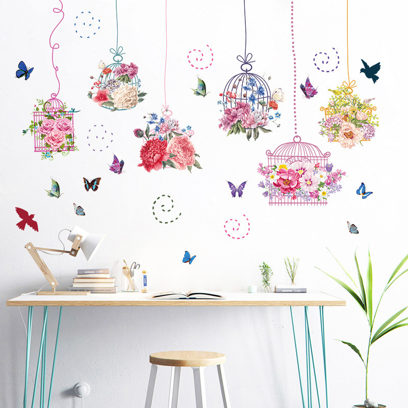 Colored Flowers Birdcage Butterfly Wall Sticker Kids Rooms Stickers Muraux Home Decor Adesivos De Parede