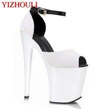 Novo 2018 sapatos de salto alto mulher sandálias plataforma strass bombas de alta-salto alto 20 cm mulheres bombas moda festa de verão sapatos de baile
