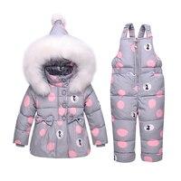 BibiCola baby girls clothes set newborn winter down clothing set cartoon tops jacket +bib pants 2pcs kids girl clothes warm suit