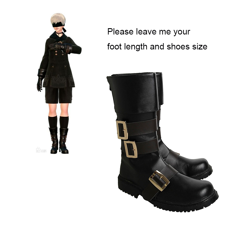 NieR Automata Cosplay YoRHa No 9 Type S Boots Anime Cosplay Costume Accessories Black Game Shoes