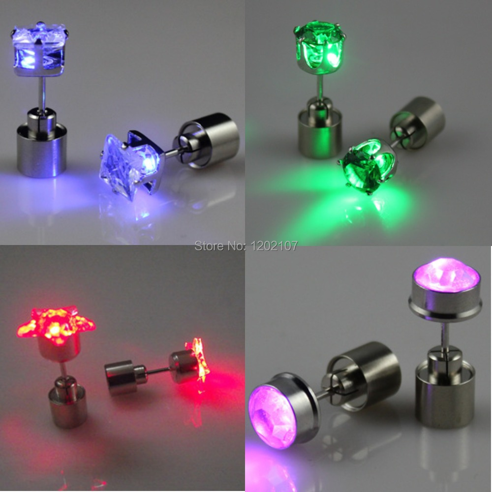 Color Led Earrings Light Up Glowing Studs Ear Ring Drop: 1 Pair New Fashion Crown Star Round Flower Light Up CZ