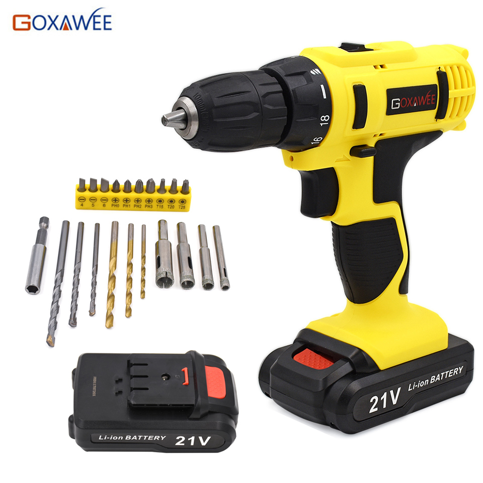 GOXAWEE 21V Electric Screwdriver Household Rechargeable Cordless Lithium Battery Screwdriver Drill & 1 spare battery 21pcs bits
