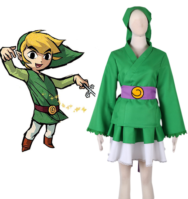 a2d6d5eb5 Free Shipping The Legend of Zelda Link Lolita Kimono Dress Suits Anime Cosplay  Costume