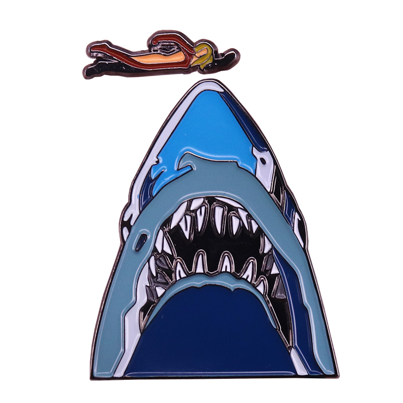 US $2 81 28% OFF|Swimming over shark mouth pin sets sexy woman brooch ocean  fish horror art badge summer swim sports jewelry-in Brooches from Jewelry