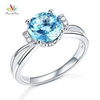 Peacock Star 14K White Gold Wedding Promise Ring 2 Ct Swiss Blue Topaz Natural Diamond