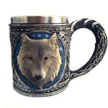 Creative Double Wall Resin Stainless Steel 3D Wolf Head Mugs Coffee Tea Beer Cup Mug Animal Cartoon Wolf King Drinking Cup 450ml