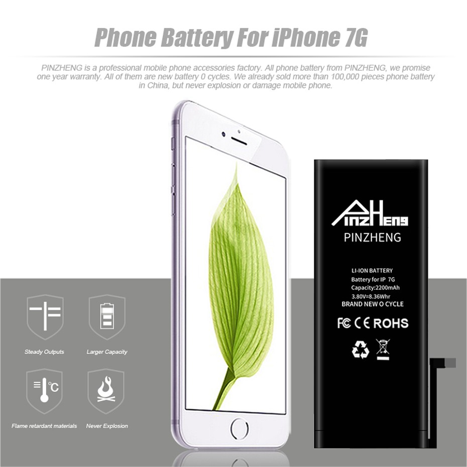 PINZHENG High Capacity Phone Battery For iPhone 7 7 Plus SE Replacement Batterie 0 Cycle Battery For iPhone 7 7 Plus Batteries (1)