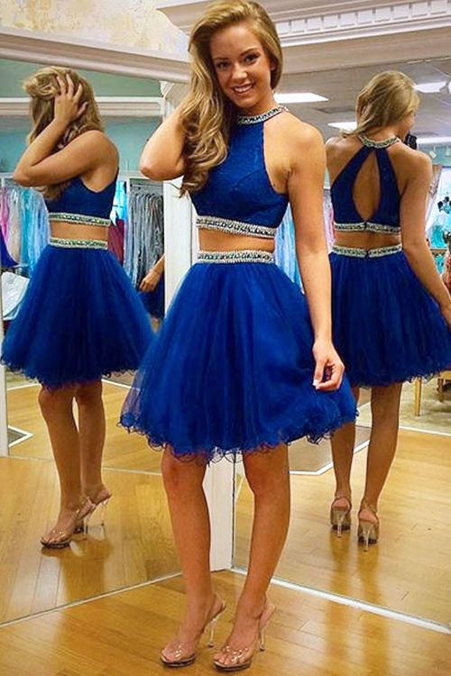 2019 Sexy Royal Blue Pink Two Pieces   Prom     Dresses   Short Beaded High Neck Tulle Skirt Short Girls Party Gowns   Dresses   2 Pieces