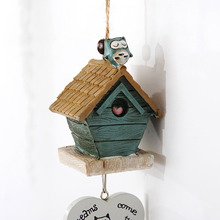 Small House Cute Cat Wind Chimes Resin Wind Bells Vintage Decorations for Home Hanging Ornament Accessories