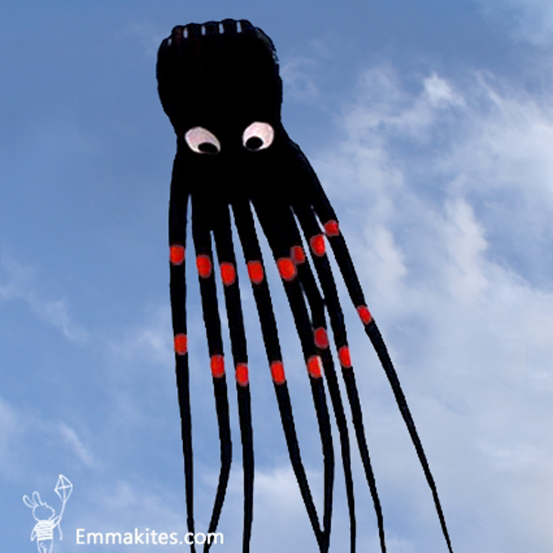 15M Parafoil Kite 3D Tube Shaped Octopus Kite Large Black Color Soft Power Kites Outdoor Toys Fun new 3d 75ft tube shaped parafoil octopus kite soft huge 23meters kite single line kite