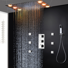 Modern Big Rain Thermostatic Shower System Concealed Rainfall Faucets Body Jets 2 Inch Massage Mixer Set