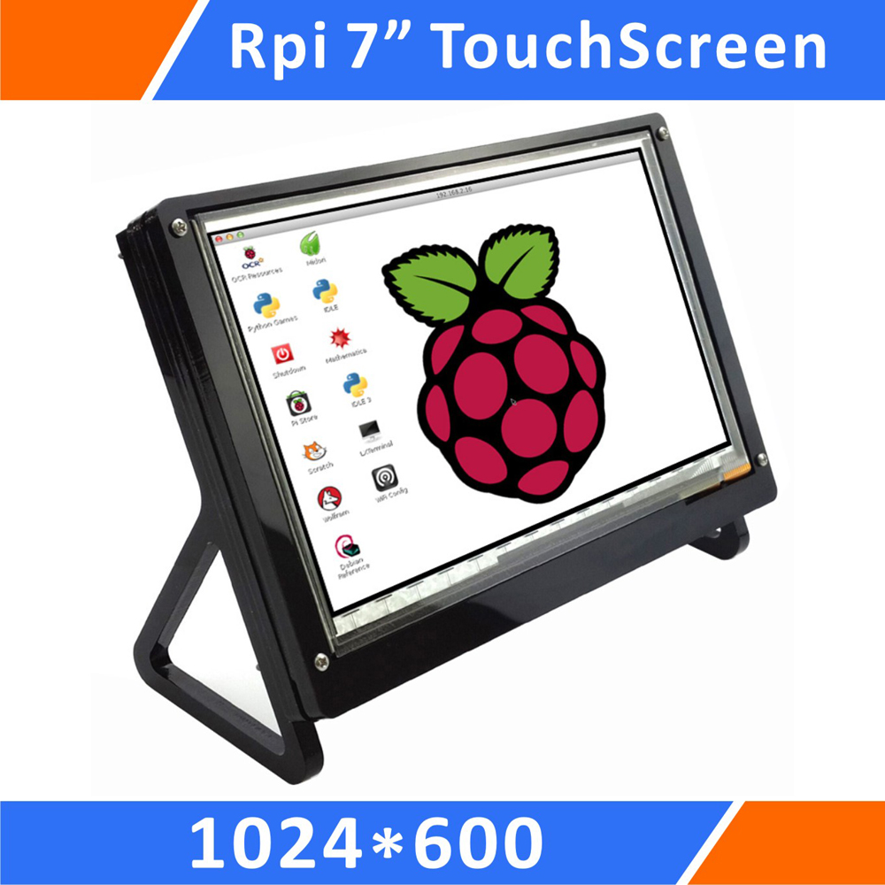 Raspberry Pi 7 Inch 1024x600 Pixel IPS Hdmi Input Capacitive TouchScreen Display Lcd with Case